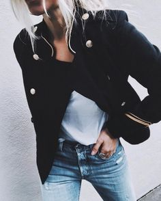 A military jacket and denim is always a good idea