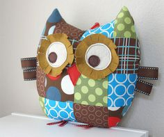 Medium Patchwork Owl Pillow Plush Stuffed Toy for Baby Boy or Toddler - Spots and Circles in Blue, Brown and Green. $32,00, via Etsy.