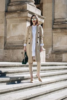 Zara beige trench coat, asos long white button down shirt, stefanel beige skinny trousers, mango suede heeled mules, chanel lookalike mules, topshop green suede bag, ray ban round mirrored sunglasses, andreea birsan, couturezilla, cute spring outfit inspiration 2017, outfit goals, fashion inspiration, fashion trends for spring 2017, best minimal outfit idea, business attire, all beige outfit, how to wear all beige, neutrals, the color that makes everything look luxurious, street style…