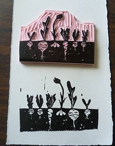 Photobucket Linolium, Lino Prints, Block Prints, Art Prints, Positive And Negative, Negative Space, Vegetable Prints, Food Print, Growing Veggies