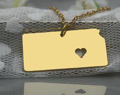 Kansas Necklace  Kansas Pendant  I heart State by diyjewerly