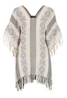 Patterned poncho with fringe (original price, $34) available at #Maurices