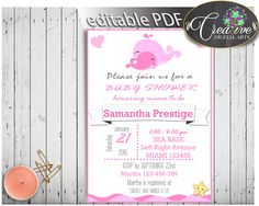 Pink Baby Shower Girl INVITATION editable, nautical whale pink theme printable, digital, editable whale shower, instant download - wbl02 #babyshowerparty #babyshowerinvites