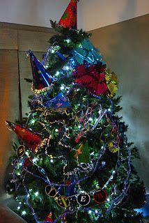 The new years tree.after christmas is done, take off the christmas decorations and put new years decorations on it. Good reason to keep the tree up! --->Totally doing this! New Years Decorations, Tree Decorations, Christmas Decorations, Holiday Decor, Holiday Tree, Christmas Tree, Christmas Ideas, New Years Tree, Wreaths For Front Door