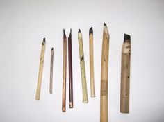 Making a Calligraphy Pen from Bamboo http://joshberer.wordpress.com/2008/03/10/making-a-calligraphy-pen-from-bamboo/