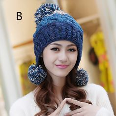 Warm hairball cable knit beanie hat for women winter ear flap stocking caps