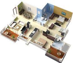 3 bedroom apartment house plans interior pinterest square feet