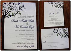 Eggplant Purple, Sage Green, Brown and Gray Love Birds in a Fall Tree Wedding Invitations