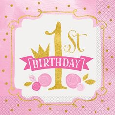 Girl's First Birthday Party Napkins, Pink and Gold, Pack of 16 - Walmart.com