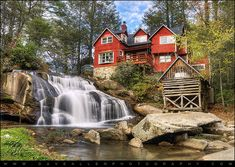 Mill Shoals Falls in the Appalachian mountains of Western North Carolina.