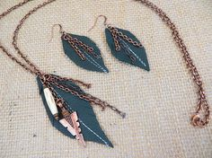 Necklace Earring Set Women's Light Weight Leather Feather