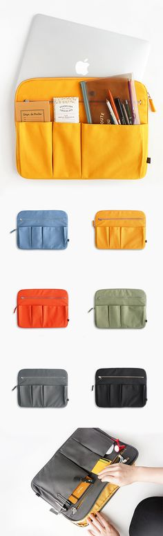The awesome, trendy Canvas Laptop Sleeve is an impressive laptop pouch! It can fit up to a 13-inch laptop & has a whopping 8 compartments! There's 5 easy-access pockets of various sizes for items such as your phone, planner, mail, books, and pens & pencils. Don't forget the 2 larger zippered spaces to securely store important items, such as your laptop, charger, wallet, bus card, passport, school id, and papers! The padding will keep your things safe, and you will look really good doing it…