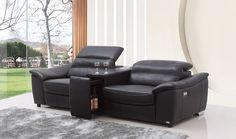 Divani Casa Donovan Modern Black Italian Leather Recliner Sofa With Wine Cabinet