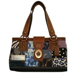 Pre-owned Coach Patchwork Satchel ($118) ❤ liked on Polyvore featuring bags, handbags, patchwork, coach bags, brown satchel, denim purse, denim handbags and coach satchel