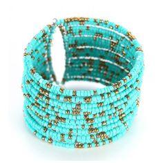 Memory Wire Beaded Cuff Bracelet ($8.99) ❤ liked on Polyvore featuring jewelry, bracelets, stylemoi, cuff bangle bracelet, beads jewellery, wire jewelry, cuff bangle and cuff bracelet