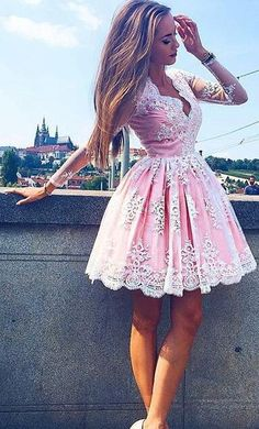 long sleeves prom dress homecoming dress, 2017 short pink lace prom dress homecoming dress, party dress