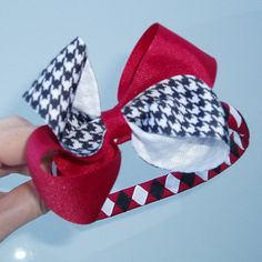 Roll Tide! Bama houndstooth bow headband.