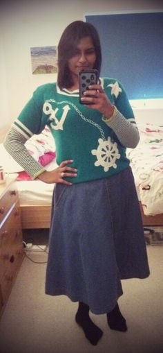 Nautical jumper with A-line denim skirt