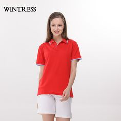 1de7366c86a0 WINTRESS Can Custom Logo Summer Polo For Women Contrast Color Short Sleeve  Turn Down Collar Buttons