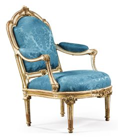 A LARGE CARVED GILT AND PAINTED ARMCHAIR, LOUIS XV, CIRCA 1760, ATTRIBUTED TO MATHIEU DE BAUVE