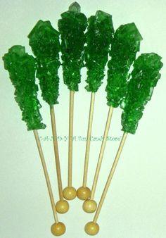 Green Swizzle Sticks Rock Candy