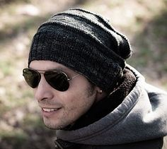Manly Slouchy Hat pattern - FREE A fantastic looking masculine slouchy hat pattern from Shireen Nadir, the pattern is easy because most men like a simple unfussy hat.