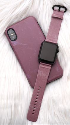 Matching Blush Blush Case for iPhone X, iPhone 8 Plus / 7 Plus & iPhone 8 / 7 with a matching Blush Apple Watch band for 38mm & 42mm Apple Watch original, series 1, 2 & 3 from Elemental Cases