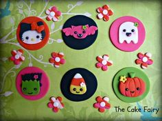 Kawaii Halloween Girly Cupcake Toppers