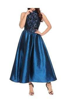 (This is an affiliate pin) ANGVNS Women's Halter Floral Lace Evening Ball Gown Long Formal Party Prom Dress