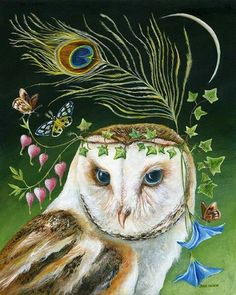 """""""Owl sees and knows the truth. Its ability to navigate through the darkest night and bring back nourishment for itself and others is the foundation of this essence. Owl essence will always guide you to your proper path and wisdom. Animal Spirit Guides, Spirit Animal, Illustrations, Illustration Art, Owl Artwork, Power Animal, Art Sculpture, Animal Totems, Whimsical Art"""