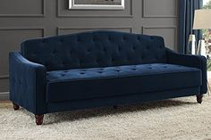 Luxury and Elegant Vintage Diamond Tufted Sofa Sleeper, Superb, Velour Upholstery, Victorian Style Strong Wooden Legs, Sturdy Wood Frame Construction, Easy Assembly + Expert Guide (Navy Velour)