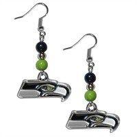 Seattle Seahawks Bead Dangle Earrings (F)
