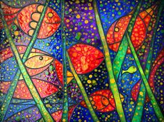 "'GLASS PAINTING ""FISHES"" without frame' by marachowska on artflakes.com as poster or art print $35.64"