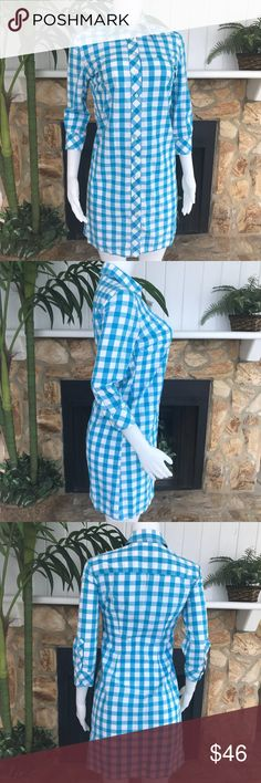 "Lilly Pulitzer White Blue Check Dress Sz 2 Lilly Pulitzer White Blue Check Gingham Button Down Collar 3/4 Sleeve Dress Sz 2  Armpit to Armpit: 19"" Waist: 15"" Shoulder Seam to Shoulder Seam: 15.5"" Length: 36"" Sleeve: 16""   *All measurements are taken by hand, laid flat and are approximate. Lilly Pulitzer Dresses"