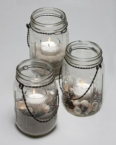 sand candles glass and & shells are also a good combination!