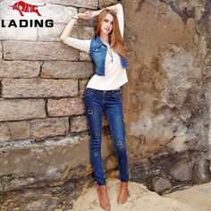 New winter washed worn pencil pants feet female stovepipe jeans fashion personality