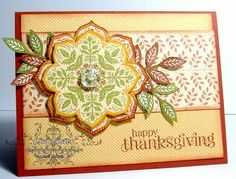Stampin' Up! ... handmadeThanksgiving card  ...Gratitude medallion and leaves ... soft Fall colors ... luv it!