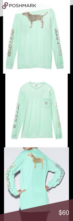 FINAL PRICE ✔️NWT VS/ Pink bling dog Brand new VS/Pink bling dog long sleeve tee green mint color NO TRADES REASONABLE OFFERS WELCOME ✔️NOT LOWBALLING PINK Victoria's Secret Tops Tees - Long Sleeve