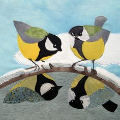 'Reflections' By Textile Artists Kate Findlay.  Blank Art Cards By Green Pebble.