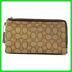 COACH Women's Signature Double Zip Wallet Li/Khaki/Brown Wallets - Wallets (*Amazon Partner-Link)