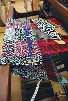 """A recycled zebra-striped fabric produces a stunning rag rug. """"Rag Weaving - Endless Possibilities"""" with Christie Rogers at the John C. Campbell Folk School   folkschool.org"""