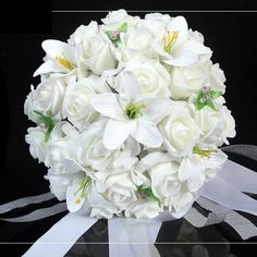 White Wedding Gift Bouquet Artificial Rose Flowers