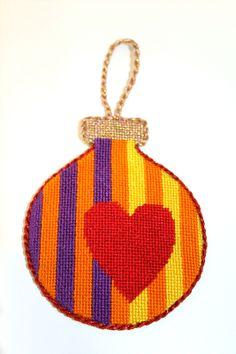 Needlepoint ornament, jody designs heart on stripes