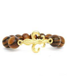 Gold Fleur De Lis Wood Stretch Bracelet