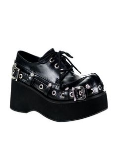 Punk Goth Lace Up Buckle Platform Shoes