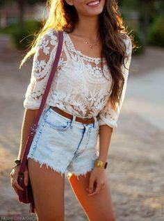 Lace shirt and denim cutoff shorts