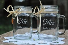 Mason Jar Wedding Glasses -  Mr and Mrs - Choice of 14 Fonts - Left or Right Handles