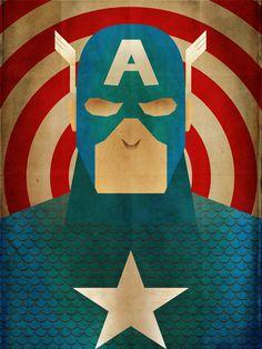 Minimal Heroes: Captain America. $15.00, via Etsy.