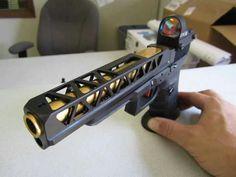 Sick slide cuts on this custom Glock Custom Glock, Custom Guns, Tactical Knives, Tactical Gear, Revolver, Glock Mods, Cool Guns, Guns And Ammo, Self Defense