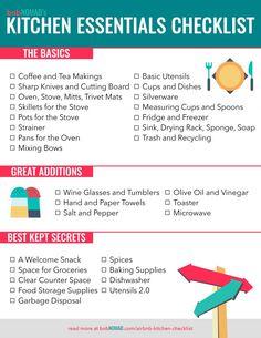 The Airbnb Host's Kitchen Essentials Checklist – Hazir Site Kitchen Essentials List, New Home Essentials, Kitchen Necessities, Apartment Essentials, Bathroom Essentials, Living Room Essentials, Apartment Hacks, First Apartment Checklist, New Home Checklist